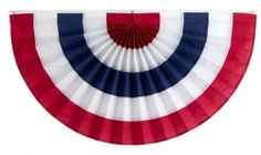 Independence Bunting & Flag 36 by 72-Inch 5-Stripe Cotton Pleated Fan, Red/White/Blue/White/Red by Independence Bunting & Flag. $24.71. Patent-Pending Pleated Fans with real pleating so they always look like new folds back easily into original pleats for storage. Made in America. Material: Poly/Cotton or 100-Percent Nylon Available in Sizes: 12-Inch x 24-Inch - 18-Inch x 36-Inch - 24-Inch x 48-Inch - 36-Inch x 72-Inch. The larger size fans look great around the house, on...
