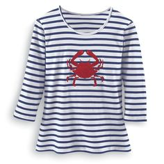 Crab Embroidered and Applique Top - Women's Clothing – Casual, Comfortable & Colorful Styles – Plus Sizes