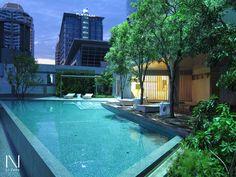 L49's Swimming pool, Novotel Bangkok Platinum, pool on rooftop, Landscape night scene.