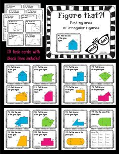 Irregular shape task cards.  Perfect for 6th grade math! Would have to make these, but more fun than just doing the same thing over and over again. Could be differentiated easily without students knowing (numbering on the backs) trade with another student who has the same number as you on the back (then maybe find the next number higher for another trade).