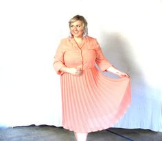Items similar to Peachy pleats- Vintage Dress- plus size- xxl on Etsy Big Girl Clothes, Plus Size Dresses, Plus Size Fashion, Vintage Dresses, Girl Outfits, Trending Outfits, Awesome, Clothing, Etsy