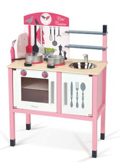 This beautifully coloured pink wooden kitchen includes a double stove, oven, sink, clock, pans, oven glove and all the utensils any little chef may need to cook up a storm. The cupboard doors open out, each of which has an interior shelf, so you can cook (and store) several dishes together. Suitable for multiple children to play together due to its size.