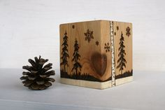 Winter Woodland Candle Holder  Woodburning by TwigsandBlossoms, $38.00