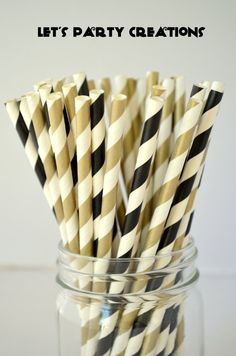 Black and Gold Paper Straws 50 Stripe by LetsPartyCreations, $8.00