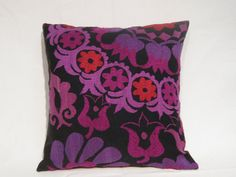 ON SALE 69.90--> 49.90 Purple Tulips Needlecraft Suzani Pillow Cover, Decorative Wonderful Blackberry Colors, Decorative 16x16""