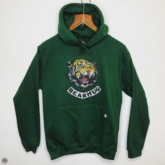THE BEARHUG CO - Simple Tiger - Bottle Green Hoodie