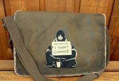 Canvas Messenger Bag Banksy Keep Your Coins I Want by clpstudio