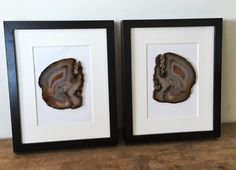 2x framed agate slice lucent home decorcrystalsminerals