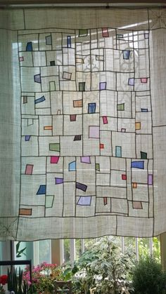 Fabric Art, Fabric Crafts, Sewing Crafts, Sewing Projects, Patchwork Curtains, Quilt Modernen, Contemporary Quilts, Fabric Manipulation, Hand Quilting