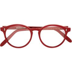 Cutler & Gross round shaped glasses (297.355 CLP) ❤ liked on Polyvore featuring accessories, eyewear, eyeglasses, glasses, fillers, sunglasses, red, round glasses, cutler and gross and red eyeglasses