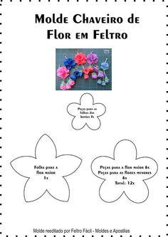Feltro Fácil Moldes e Apostilas: Molde do Chaveiro de Flor em Feltro!