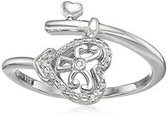 Sterling Silver Diamond Heart Wind Ring Size 7 * You can find more details by visiting the image link.Note:It is affiliate link to Amazon.