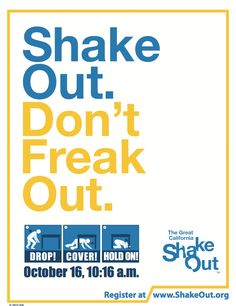 World's Largest Earthquake Drill flyers and posters. 3rd Thurs in October each year. shakeout.org http://www.shakeout.org/california/downloads/ShakeOut_CA_2014_Poster_DCH_Whattodo.pdf http://www.shakeout.org/california/downloads/DropCoverHoldOnFlyer.pdf  #earthquakedrill #earthquakesafety #emergency