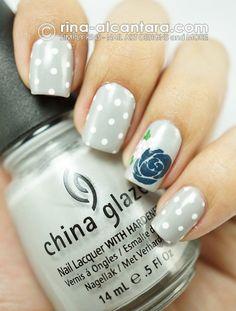 Light Blue Rose Nail Art Design