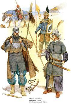 otomans-1) Sipahi 17eme siècle  2) éclaireur Deli 1600  3) Auxiliaire Arabe 17eme siècle