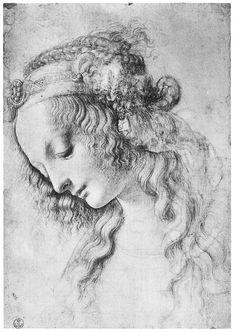 Leonardo da Vinci -Testa di donna di profilo, verso sinistra