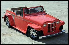 1950 Willys Jeepster , mine was pretty close to this one- it was my first car, I bought it on my 18th birthday and worked on it for the next six months to make it look like this!