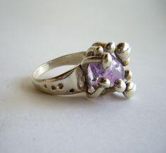 Salvador Teran Mexican Modernist Amethyst Ring