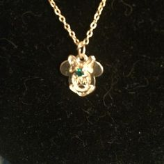 Mini Mouse necklace Gold tone with green stone Disney Jewelry Necklaces