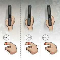 This image shows the right way to pull the trigger, and where your pellet will go based on the part of finger you use for shooting.