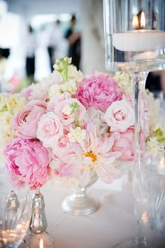 Pink Peony Centerpiece with Roses, Stock and Dahlias - Nantucket Wedding - Soiree Floral