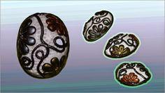 Broche flores,de fimo. Las fores estan pintadas con polvos pearl ex plata, cobre y oro