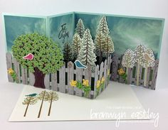 Thoughtful Branches Pop-Up, Z-Fold by BronJ - Cards and Paper Crafts at Splitcoaststampers Z Cards, Step Cards, Fun Fold Cards, Folded Cards, Baby Cards, Box Cards Tutorial, Card Tutorials, Pop Up Box Cards, Shaped Cards