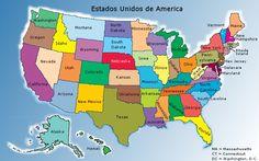 Mapa De Estados Unidos En Espanol | dividido en estados y un cuadro en el que figura la poblacion ...