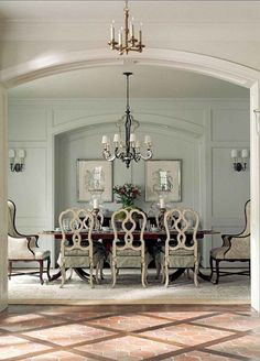 Great paint color and decor in traditional French dining room. French chandelier is by Currey & Co. Great paint color and decor in traditional French dining room. French chandelier is by Currey & Co. French Country Dining Room, French Country House, French Country Decorating, French Dining Rooms, French Dining Chairs, French Decor, World Of Interiors, Elegant Dining Room, Dining Room Design