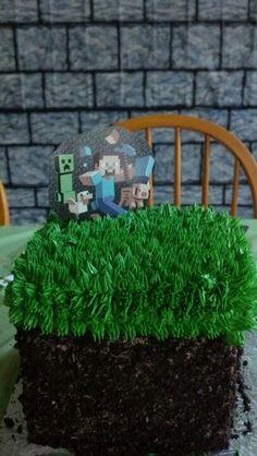 Minecraft grass cube cake
