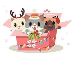 The character of cute dog and friends si... | Premium Vector #Freepik #vector #christmas #gift #box #cartoon