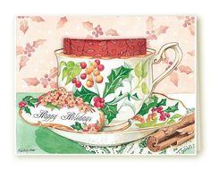 Happy Holidays Kimberly Shaw Tea Bag Christmas Card