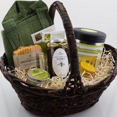 Homestead Garden Gift Basket w/ Handmade Soap, Lip Balm, Lotion Bar, Raw Honey, Beeswax Candle & Heirloom Garden Seed Collection