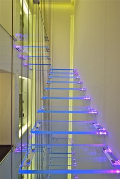 Futuristic Home, Illuminated lucite stairs, Future Home, Futuristic Interior * Interiors Interiors * Alina Contreras Interior Stairs, Interior And Exterior, Neon Licht, Escalier Design, Penthouse For Sale, Glass Stairs, Glass Handrail, Futuristic Interior, Interior Modern