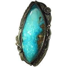 Native American Vintage Turquoise Ring - Size 7 (1.115 BRL) ❤ liked on Polyvore featuring jewelry, rings, accessories, native american rings, green turquoise jewelry, blue turquoise ring, american indian rings and native american jewelry