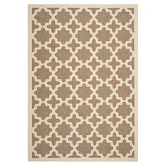 Add a pop of pattern to your foyer or den with this indoor/outdoor rug, featuring a Moroccan-trellis motif in brown and bone.  Produ...