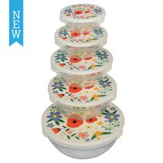 Set Of 5 Summer Meadow Glass Bowls | DotComGiftShop