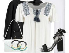 Très jolie tenue du jour avec sa petite blouse blanche brodée et ses sandales à talons rayées. Venez faire un tour ici: http://stylefru.it/s296904 #ootd #outfitoftheday #blouse #blackandwhite