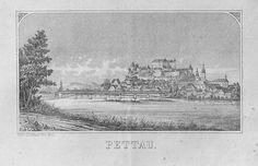 Titel Pettau, Jugoslawien Beschreibung Ansicht. Lithografie (19. Jahrhundert)