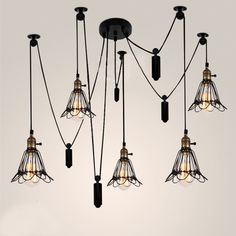 Vintage 6 Heads Industrial Ceiling Lamp Edison Light Modern Fashion Di – ICON2 Designer Home Fixtures & Elements