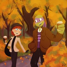 Okay so I know Apriltello Day was over like two hours ago but I had this idea in my head and I just had to draw it. It's so messy and I painted the background WAY too quickly but oh well… I just really wanted to draw April and Donnie in a scene from. Turtle Costumes, Pirate Halloween Costumes, Couple Halloween Costumes For Adults, Couple Costumes, Group Costumes, Adult Costumes, Couple Cartoon, Cartoon Shows, Tmnt Swag