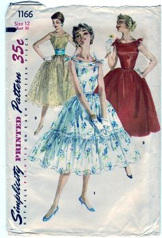 Vintage 1955 Simplicity 1166 Sewing Pattern by SewUniqueClassique, $18.00