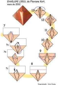 Terapia do Papel: Desmistificando dobras - diagrama Cartão e Envelope Lírio Origami Tooth, Origami Lily, Instruções Origami, Origami Wedding, Origami And Quilling, Origami And Kirigami, Origami Bookmark, Paper Crafts Origami, Origami Stars
