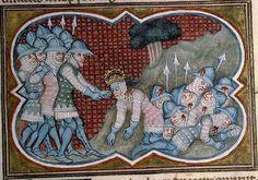 14th century helmet / helmets ( manuscript : Bib. Ste. Genevieve MS.777 Decades, Folio 273r, 1370, France )