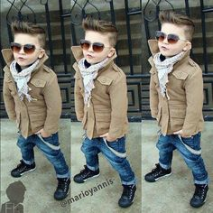"Fashion baby boy... Maybe a little over the top... But love my little boy with his ""hah cut"", and skinny jeans"