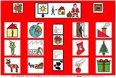 """""""Tablero de comunicación: Papá Noel"""". Recopilación de diferentes tableros de comunicación de 12 casillas, organizados por necesidades básicas y centros de interés. Los tableros pueden imprimirse tal como aparecen en los documentos o bien se puede modificar el contenido, la forma, el color, etc., para adaptarlos a las características individuales de cada usuario. Pueden utilizarse también para trabajar distintos repertorios de vocabulario agrupado por temas o categorías."""