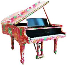 - The Steinway Limited-Edition Lilly Pulitzer-printed model M Piano was unveiled to the world yesterday. The piano is laden with colossal pastel . Lilly Pulitzer, Steinway Grand Piano, Painted Pianos, Painted Furniture, Baby Grand Pianos, Piano Music, Piano Keys, Everything Pink, Girls Dream