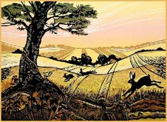 Summer Field with Hares, Rob Barnes Linocut Linocut Prints, Art Prints, Block Prints, Illustrations, Illustration Art, National Art, Wood Engraving, Print Artist, Landscape Paintings