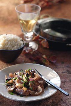 Ψαρονέφρι+κρασάτο+με+μανιτάρια Pork, Rice, Beef, Recipes, Kale Stir Fry, Meat, Recipies, Ripped Recipes, Pork Chops