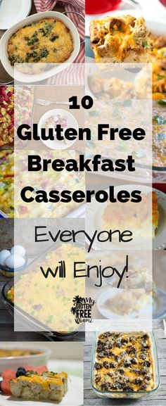 10 Gluten Free Breakfast Casseroles that are great for busy mornings, family get togethers or potluck brunches. These meals are sure to please everyone! via @glutenfreemiami
